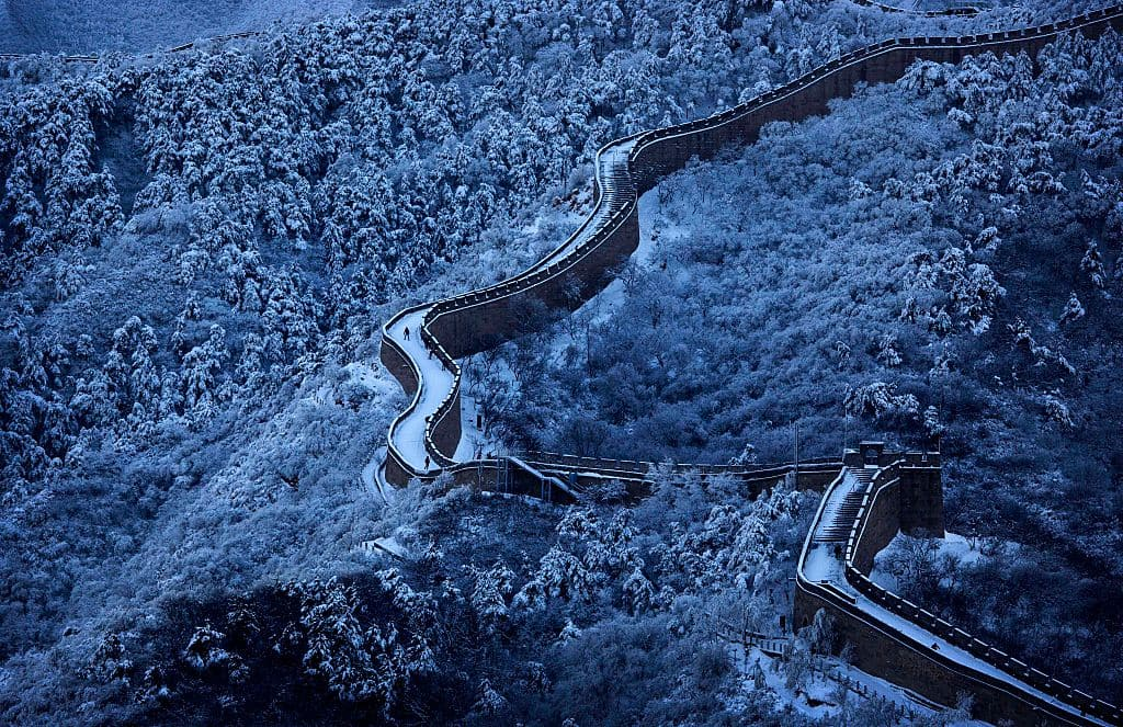 Snow is seen on the Great Wall after a snowfall on November 23, 2015 near Beijing, China. (Getty Images)