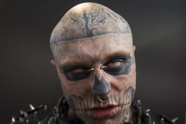 Zombie Boy attends The Great British Tattoo Show at Alexandra Palace on May 24, 2014 in London, England. (Photo by Tristan Fewings/Getty Images for Alexandra Palace)