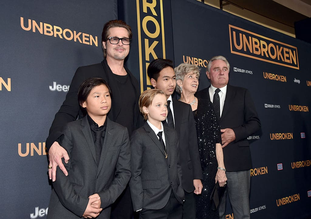 Brad Pitt (C), (L-R) Pax Thien Jolie-Pitt, Shiloh Nouvel Jolie-Pitt,, Maddox Jolie-Pitt, Jane Pitt, and William Pitt attend the premiere of Universal Studios' 'Unbroken' at TCL Chinese Theatre on December 15, 2014 in Hollywood, California. (Photo by Alberto E. Rodriguez/Getty Images)
