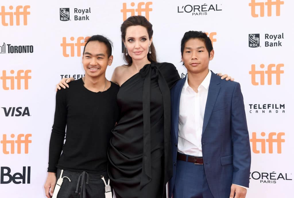Maddox Jolie-Pitt, Angelina Jolie, and Pax Jolie-Pitt attend the World Premiere of Netflix's Film's 'First They Killed My Father' during the Toronto International Film Festival at Princess of Wales Theatre on September 11, 2017 in Toronto, Canada. (Photo by Emma McIntyre/Getty Images for Netflix)
