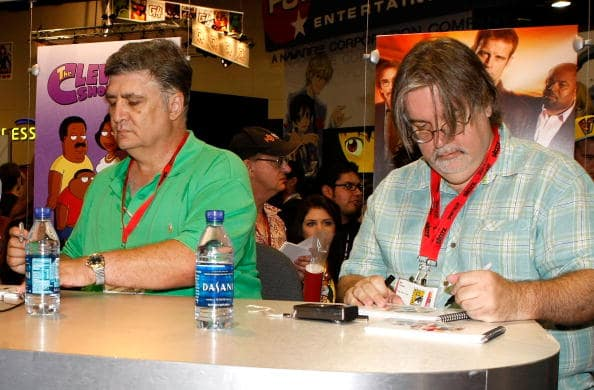 Maurice LaMarche and creator/developer Matt Groening sign autographs at Futurama Meet and Greet during Comic-Con 2009 held at San Diego Convention Center on July 25, 2009 in San Diego, California. (Photo by Michael Buckner/Getty Images)