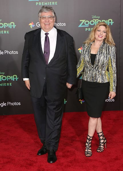 Maurice Lamarche (L) and his wife attend the Premiere of Walt Disney Animation Studios' 'Zootopia' at the El Capitan Theatre on February 17, 2016 in Hollywood, California. (Photo by Frederick M. Brown/Getty Images)
