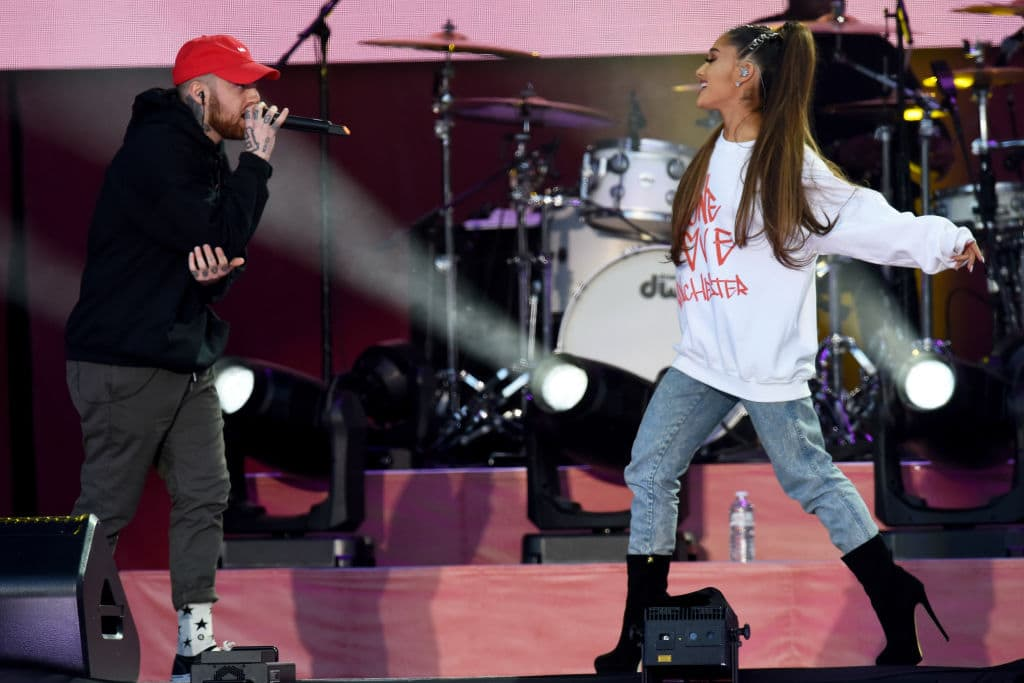 Mac Miller and Ariana Grande perform on stage on June 4, 2017 in Manchester, England. Donate at www.redcross.org.uk/love (Photo by Getty Images/Dave Hogan for One Love Manchester)