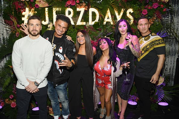 Television personalities Vinny Guadagnino, Paul 'Pauly D' DelVecchio, Deena Cortese, Nicole 'Snooki' Polizzi, Jenni 'JWoww' Farley and Mike 'The Situation' Sorrentino attend MTV's 'Jersey Shore Family Vacation' New York premiere party at PHD at the Dream Downtown on April 4, 2018 in New York City. (Photo by Dave Kotinsky/Getty Images for MTV)