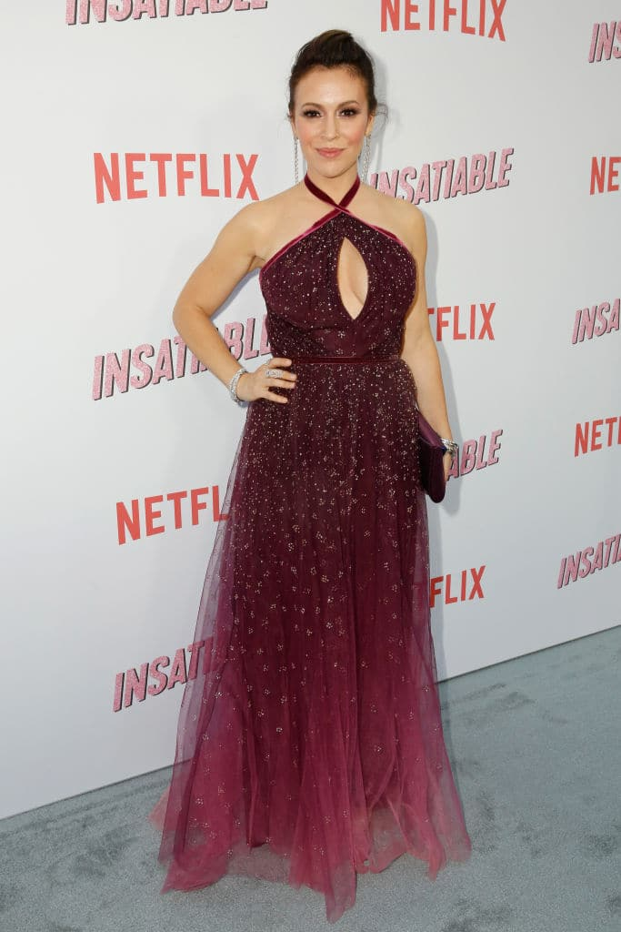 Alyssa Milano at the premiere of Netflix's 'Insatiable' in Los Angeles on August 9, 2018 (Photo by Rachel Murray/Getty Images for Netflix)