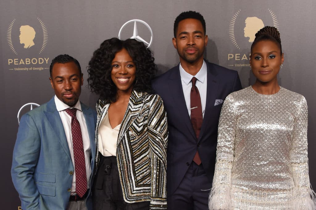'Insecure' Writer and Producer Prentice Penny, Actors Yvonne Orji, Jay Ellis, and Issa Rae attend The 77th Annual Peabody Awards Ceremony at Cipriani Wall Street on May 19, 2018 in New York City. (Photo by Michael Loccisano/Getty Images for Peabody )
