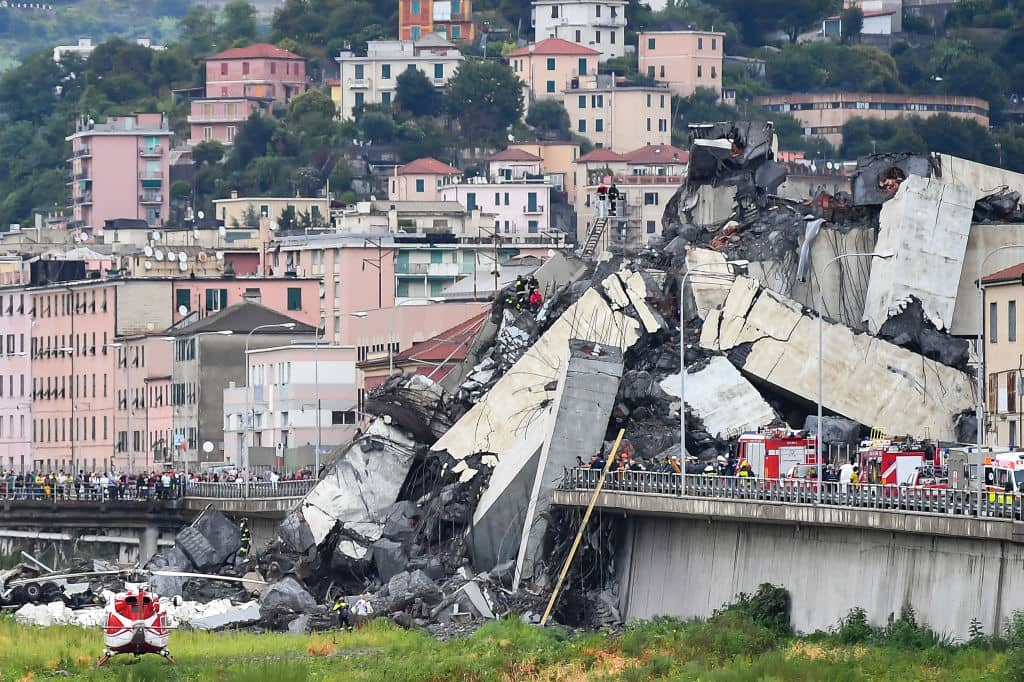 A general view of the Morandi bridge which collapsed on August 14, 2018 in Genoa, Italy. (Getty Images)