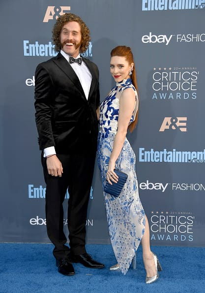 Actor T.J. Miller (L) and Kate Gorney attend The 22nd Annual Critics' Choice Awards at Barker Hangar on December 11, 2016 in Santa Monica, California. (Photo by Frazer Harrison/Getty Images)