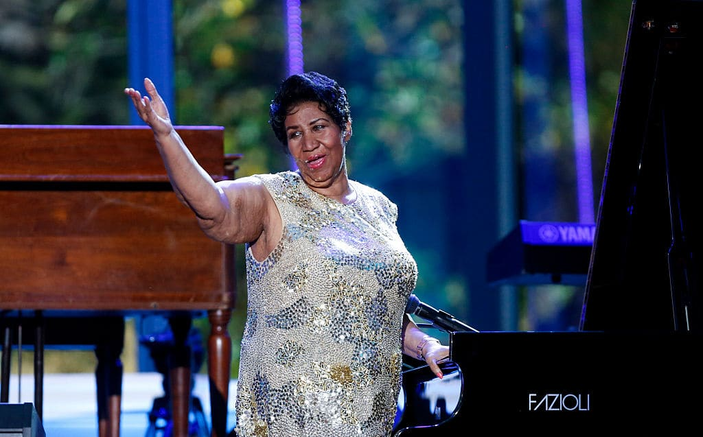 Aretha Franklin waves after her performance at the International Jazz Day Concert on the South Lawn of the White House on April 29, 2016 in Washington, DC. The event was presented by actor Morgan Freeman and included remarks by President bama. (Photo by Aude Guerrucci-Pool/Getty Images)