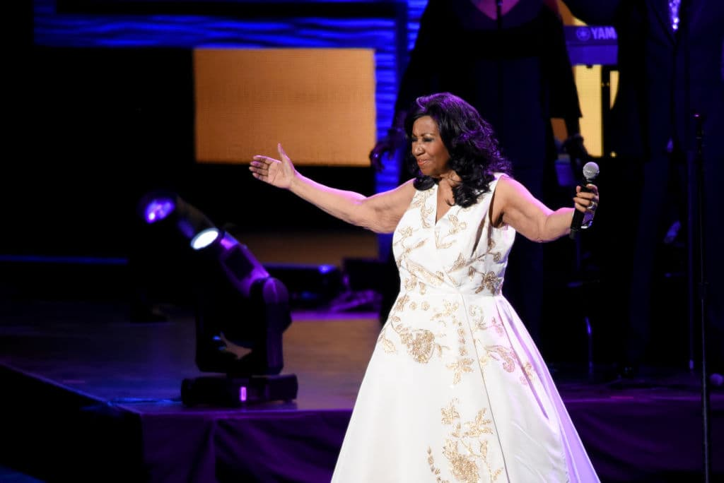 Aretha Franklin performs onstage during the 'Clive Davis: The Soundtrack of Our Lives' Premiere Concert during the 2017 Tribeca Film Festival at Radio City Music Hall on April 19, 2017 in New York City. (Photo by Noam Galai/Getty Images for Tribeca Film Festival)