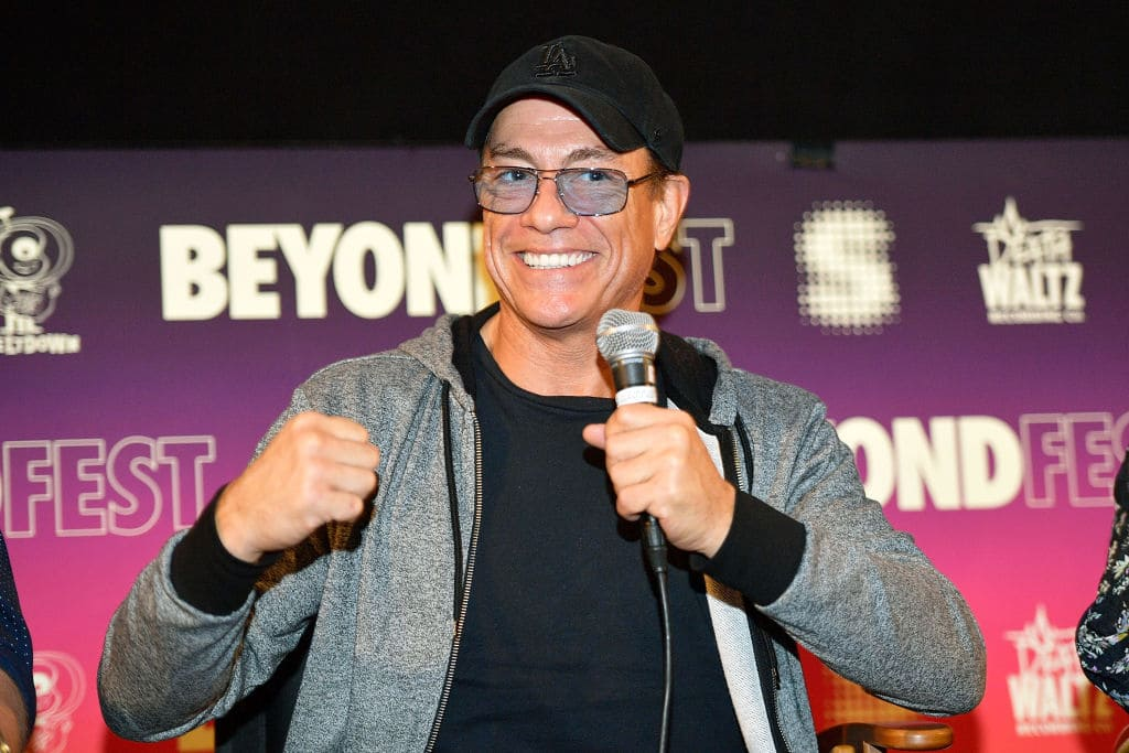 Jean-Claude Van Damme speaks onstage during the Beyond Fest screening and Cast/Creator panel of Amazon Prime Video's exclusive series 'Jean-Claude Van Johnson' at the Egyptian Theatre on October 9, 2017 in Hollywood, California. (Photo by Matt Winkelmeyer/Getty Images for Amazon Prime Video )