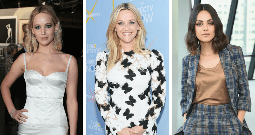 Jennifer Lawrence (L) stood fourth on the Forbes' list of highest paid actresses in 2018, followed by Reese Witherspoon (middle) at fifth, and Mila Kunis (R) scoring he sixth position. Source: Getty images.