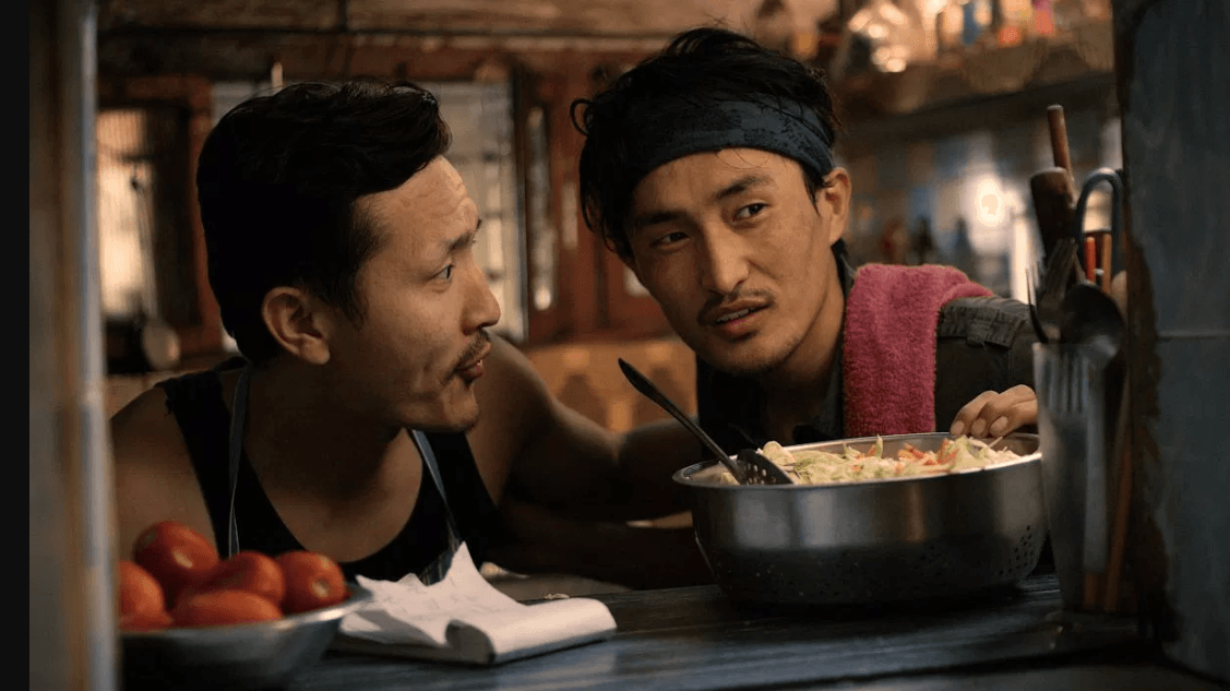 A still from the movie Pawo shows Shavo Dorjee (R)
