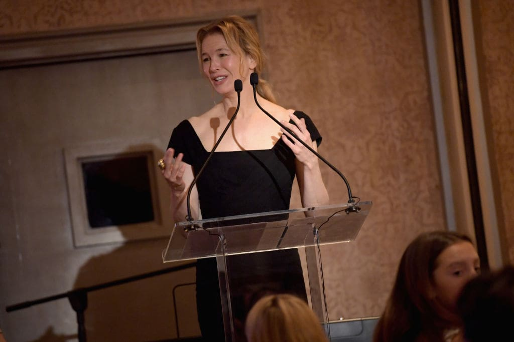 Renee Zellweger speaks onstage during the Changemaker Honoree Gala during the Greenwich International Film Festival on June 1, 2017 in Greenwich, Connecticut. (Photo by Ben Gabbe/Getty Images for Greenwich International Film Festival)
