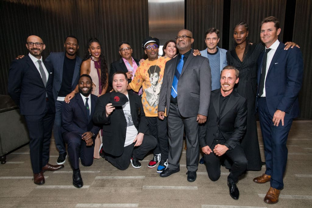 Peter Kujawski, Corey Hawkins, Laura Harrier, Nick Turturro, Ashlie Atkinson, Spike Lee, Ken Garito, Ron Stallworth, Jasper Paakkonen, Topher Grace, Damaris Lewis, John David Washington and Paul Walter Hauser attend the after party for the premiere of Focus Features' 'BlacKkKlansman' on August 8, 2018 in Beverly Hills, California. (Photo by Emma McIntyre/Getty Images)
