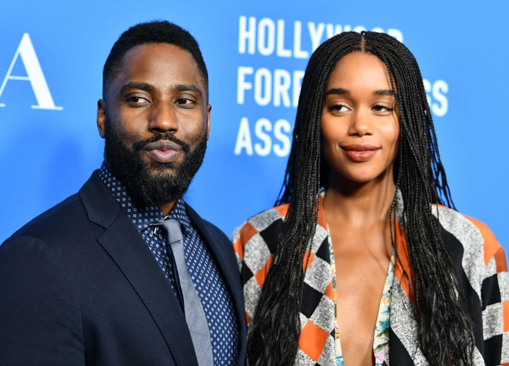 John David Washington with Laura Harrier on August 9, 2018 in Beverly Hills, California. (Photo by Emma McIntyre/Getty Images)