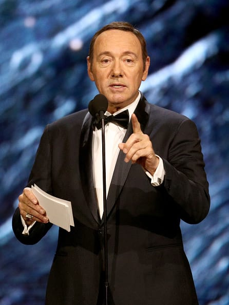 Kevin Spacey onstage to present Britannia Award for Excellence in Television presented by Swarovski at the 2017 AMD British Academy Britannia Awards Presented by American Airlines And Jaguar Land Rover at The Beverly Hilton Hotel on October 27, 2017 in Beverly Hills, California. (Photo by Frederick M. Brown/Getty Images)