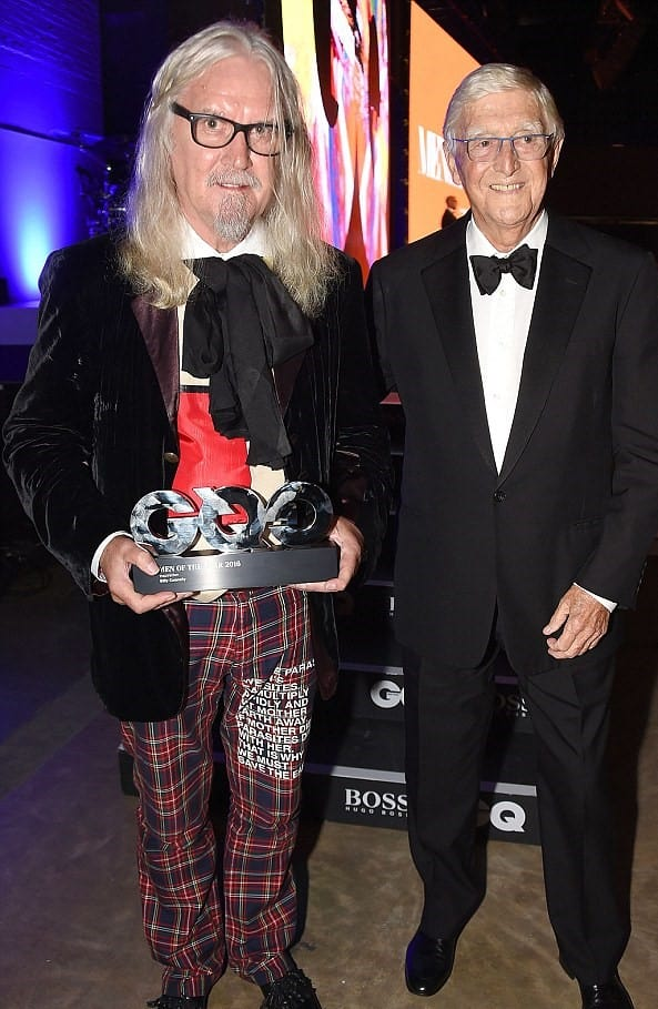 Billy Connolly, winner of the Inspiration award, and Sir Michael Parkinson attend the GQ Men Of The Year Awards 2016 at the Tate Modern on September 6, 2016 in London, England. (Photo by David M. Benett/Dave Benett/Getty Images)