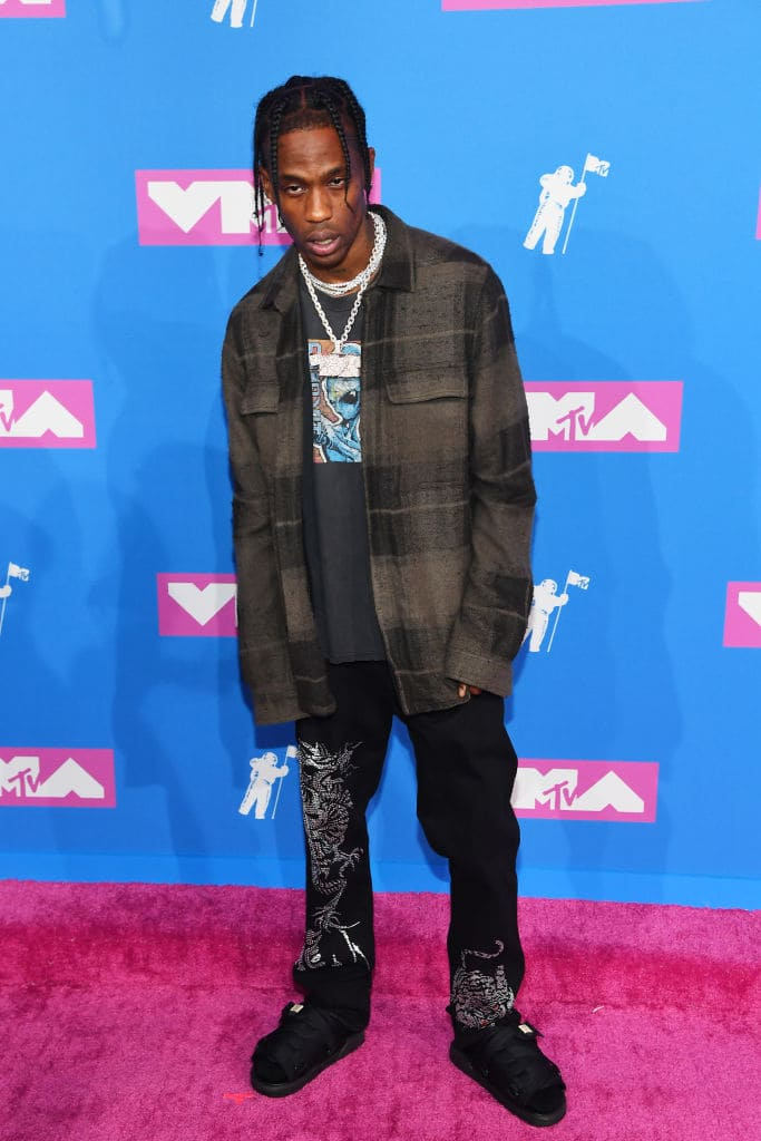 Travis Scott at the 2018 MTV Video Music Awards at Radio City Music Hall on August 20, 2018 in New York City. (Photo by Nicholas Hunt/Getty Images for MTV)