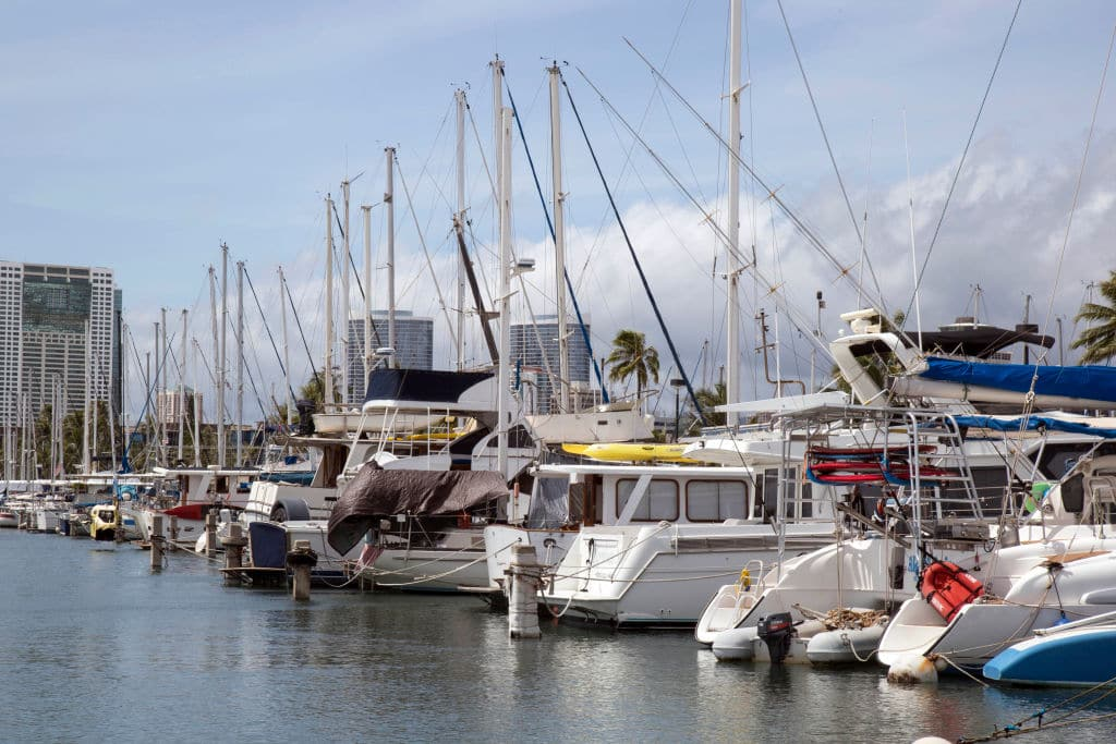 A view of of the Waikiki Yacht Club member's valuable boats that have been double and triple tied and prepared as best as possible to weather the 150 mph force winds expected to hit this south shore of Oahu Island. (Getty Images)