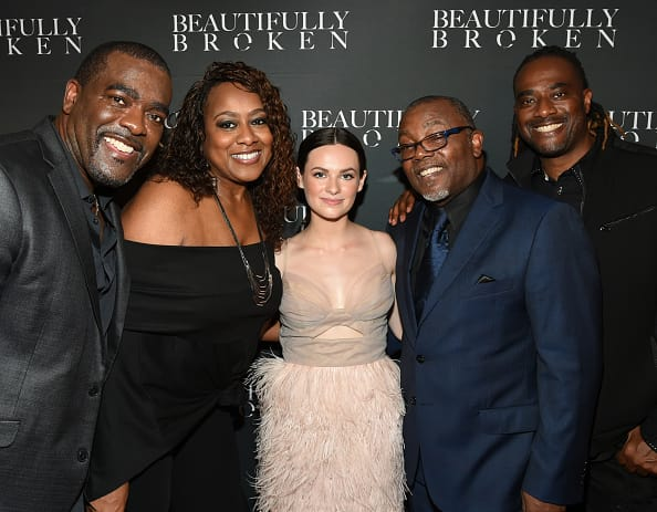Entertainment's Clyde Duffie & Michelle S. Duffie Producer with Actor Emily C. Hahn, Bishop Neil C. Ellis and D-3's Kendall Duffie attend 'Beautifully Broken' World Premiere at The Factory on August 20, 2018 in Franklin, Tennessee. (Photo by Rick Diamond/Getty Images for Beautifully Broken)