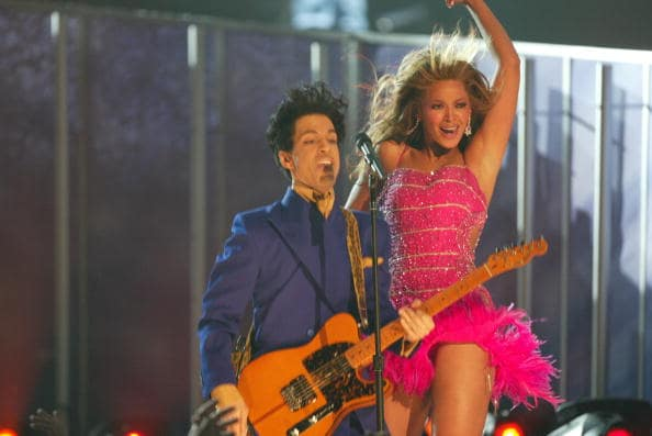 Singer/actress Beyonce Knowles and Musician Prince perform at the 46th Annual Grammy Awards held at the Staples Center on February 8, 2004 in Los Angeles, California. (Photo by Frank Micelotta/Getty Images)