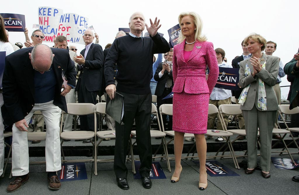 John and Cindy McCain in the year 2007, when McCain announced his second presidential run. (Image Source: Justin Sullivan/Getty Images)