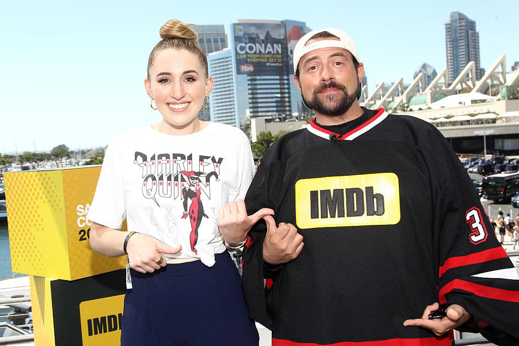Harley Quinn Smith with Kevin Smith at San Diego Comic-Con 2016 in San Diego, California. (Photo by Tommaso Boddi/Getty Images)