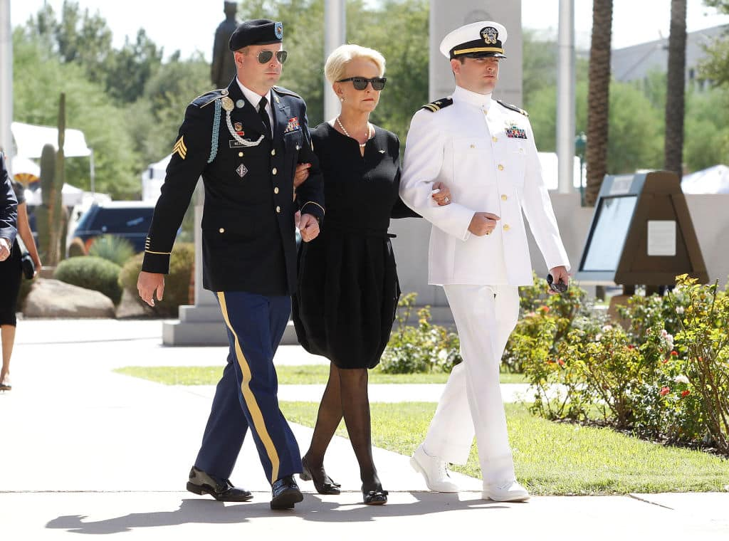 Cindy McCain was escorted to the Arizona State Capitol Rotunda by her sons Jack (L) and Jimmy (R) where her husbands' body will lie in state on August 29, 2018 in Phoenix, Arizona. (Photo by Ralph Freso/Getty Images)