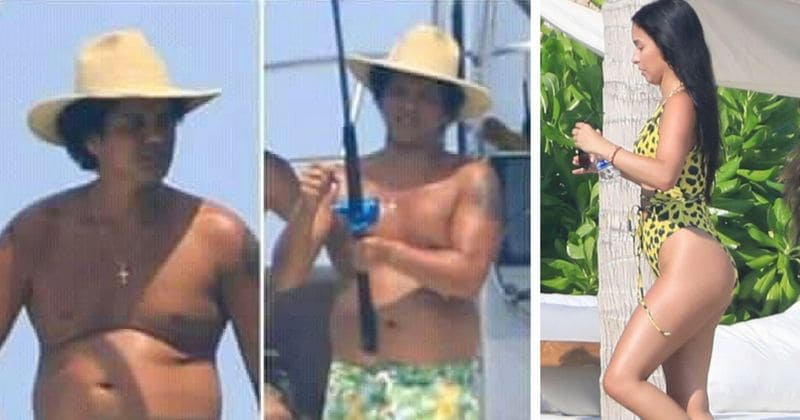 9316355384b Fans shocked by Bruno Mars's 'beach body' while on holiday with stunning  girlfriend Jessica Caban