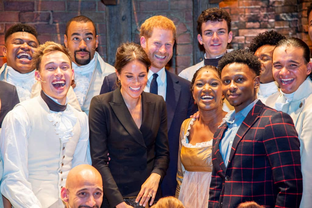 Meghan Markle and Prince Harry meet the cast and crew of 'Hamilton' backstage after the gala performance in support of Sentebale at Victoria Palace Theatre on August 29, 2018 in London (Photo by Dan Charity - WPA Pool/Getty Images)