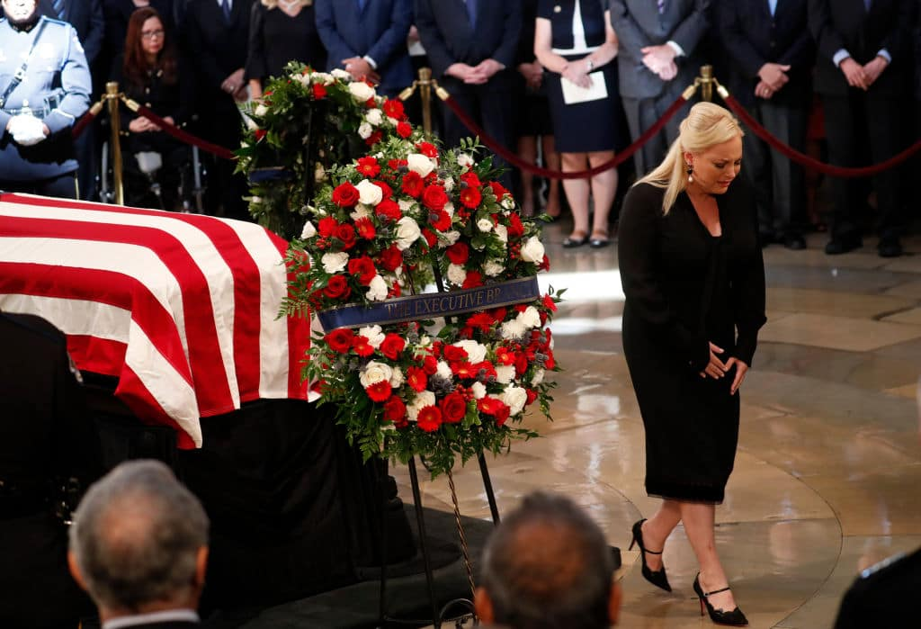 Meghan McCain cries as she turns from her father's casket during ceremonies honoring the late US Senator John McCain inside the Rotunda of the U.S. Capitol, August 31, 2018 in Washington, DC. (Getty Images)