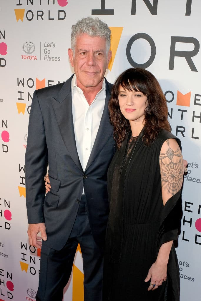 Chef Anthony Bourdain and actor Asia Argento attend the 2018 Women In The World Summit at Lincoln Center on April 12, 2018 in New York City. (Photo by Matthew Eisman/Getty Images)