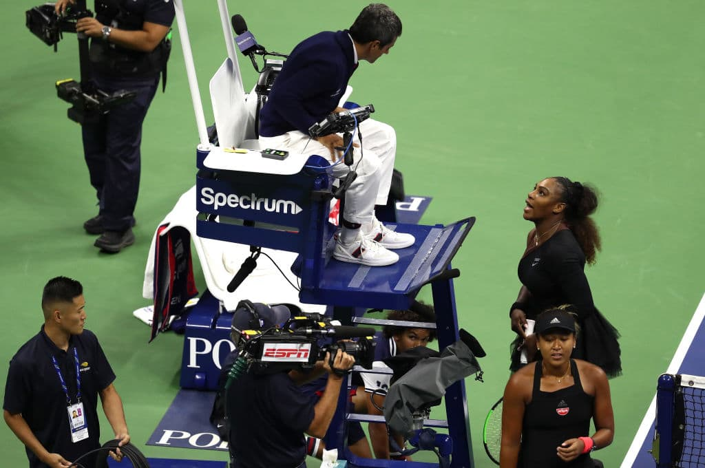 Serena Williams of the United States reacts to umpire Carlos Ramos after her defeat in the Women's Singles finals match to Naomi Osaka of Japan on Day Thirteen of the 2018 US Open at the USTA Billie Jean King National Tennis Center on September 8, 2018 in the Flushing neighborhood of the Queens borough of New York City. (Photo by Al Bello/Getty Images)