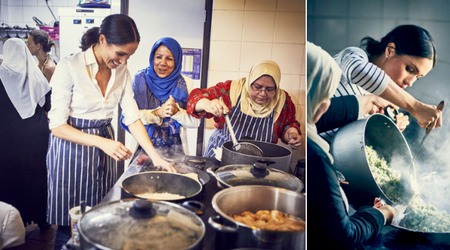 A TASTE OF ROYALTY: Meghan Markle is all smiles as she rolls up her sleeves and cooks with Grenfell Tower victims