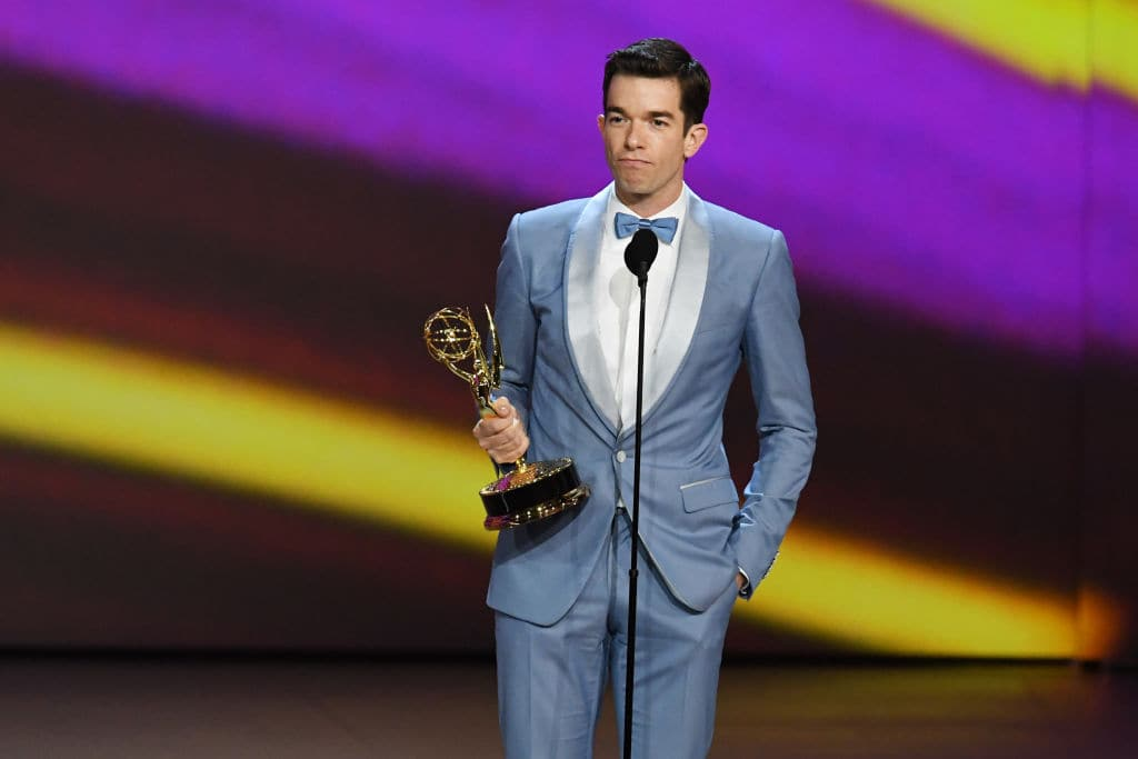 John Mulaney accepts the Outstanding Writing for a Variety Special award for 'John Mulaney: Kid Gorgeous at Radio City' onstage during the 70th Emmy Awards at Microsoft Theater on September 17, 2018 in Los Angeles, California. (Photo by Kevin Winter/Getty Images)