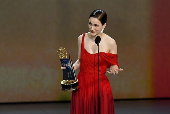 Rachel Brosnahan accepts the Outstanding Lead Actress in a Comedy Series award for 'The Marvelous Mrs. Maisel' onstage during the 70th Emmy Awards at Microsoft Theater on September 17, 2018 (Getty Images)