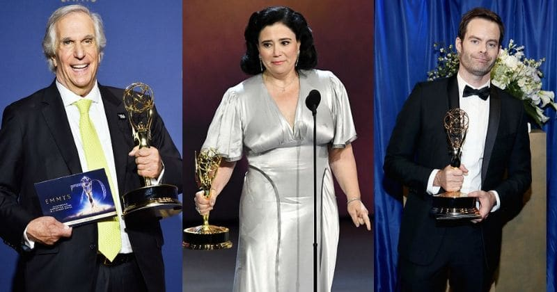 Henry Winkler, Alex Borstein and Bill Hader with their Emmys