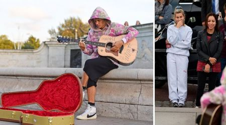 Justin Bieber serenades 'wife' Hailey Baldwin with a busking gig outside Buckingham Palace