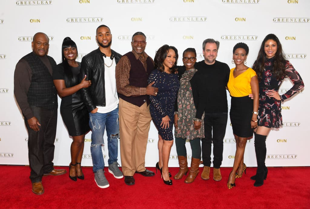 Gregalan Williams, Deborah Joy Winans, Tye White, Keith David, Lynn Whitfield, Erica Anderson, Craig Wright, Kim Hawthorne, and Merle Dandridge attend 'Greenleaf' Season 2 Press Luncheon at Four Seasons Hotel on February 3, 2017, in Atlanta, Georgia (Getty Images)