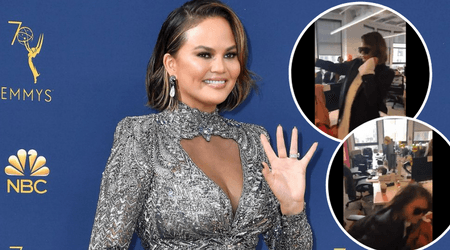 Chrissy Teigen falls off a chair in the most meme-worthy manner