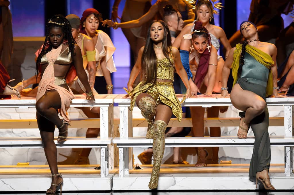 Ariana Grande (center) performs onstage during the 2018 MTV Video Music Awards on August 20, 2018, in New York City (Getty Images)