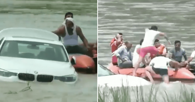 Man pushes BMW car given to him as a birthday present by his father into river as he wanted a Jaguar