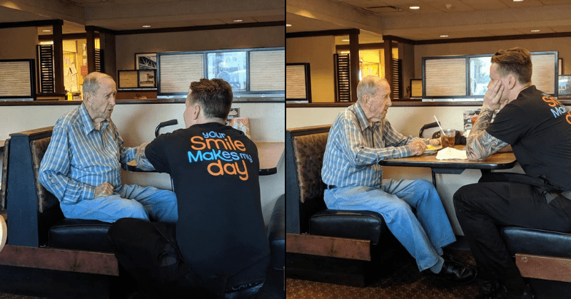 Touching photos of young waiter chatting with 91-year-old WW II veteran eating alone is warming the hearts of the Internet