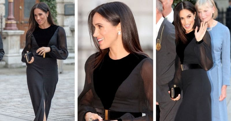 meghan markle is the epitome of racy royal in stunning black dress at first solo event in london meaww meghan markle is the epitome of racy