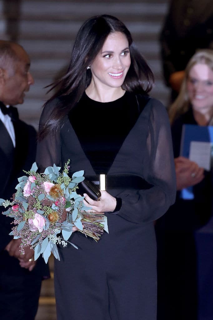 Meghan's dress included velvet, sheer panels, a long leg slit (Getty Images)