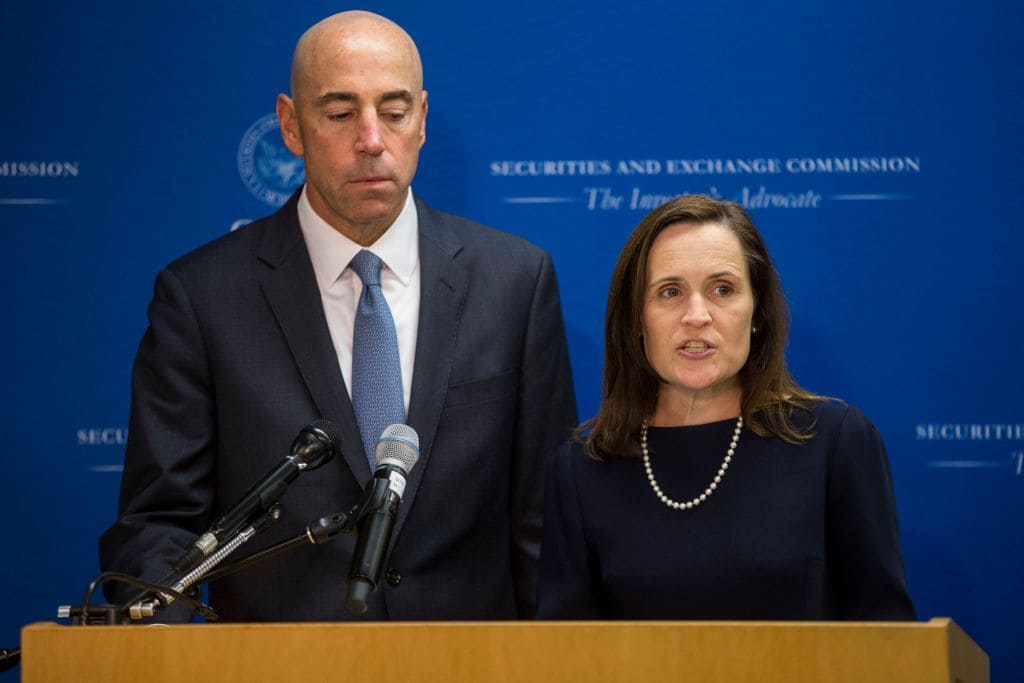 Securities and Exchange Commission Co-Director of Enforcement Stephanie Avakian speaks during a news conference announcing their decision to sue Tesla CEO Elon Musk at the US Securities and Exchange Commission on September 27, 2018 in Washington, DC. (Getty Images)