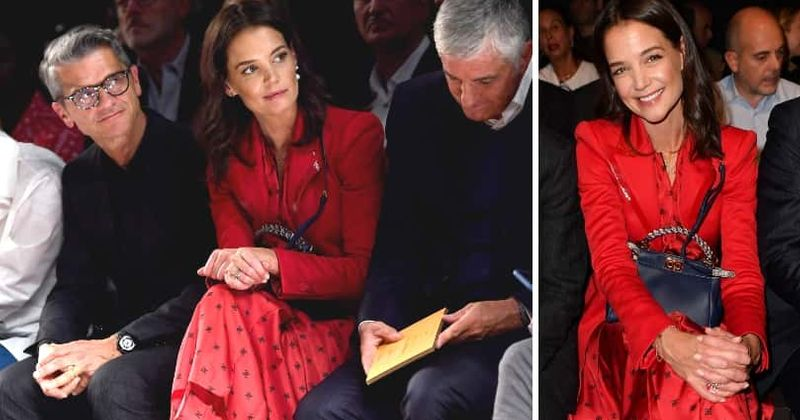 Katie Holmes, 40, looks stunning in gorgeous red gown with leather trim blazer at Fendi show during Milan Fashion Week