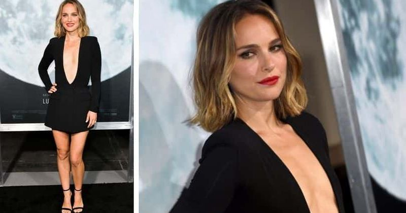 Natalie Portman wears plunging black dress at Lucy In The