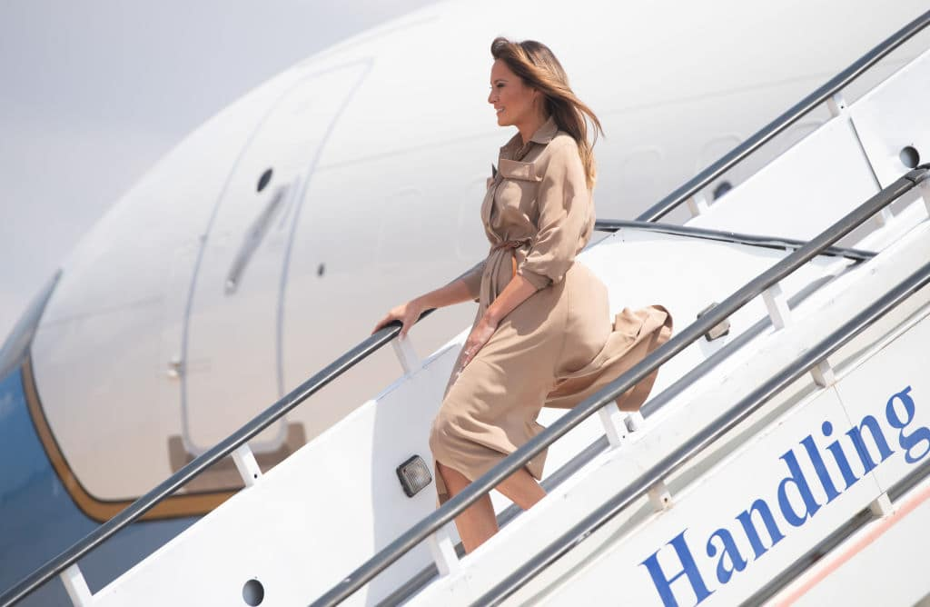The beige-toned outfit was cut to just below her knees, and featured a draped design (Getty Images)